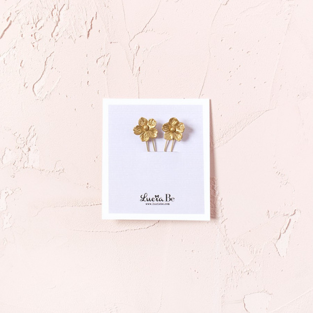 Horquillas Almendros en flor oro